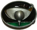 Golf Ball & Club Belt Buckle+ display stand. Code EJ1